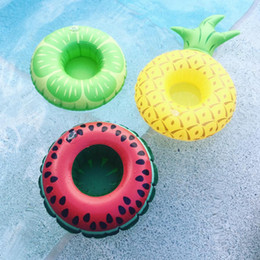 Wholesale Inflatable Swimming - Cute Watermelon Pineapple Fruit Inflatable Floating Drink Cushion Holder Swim Bathing Saucer Cup Mini Swim Ring Drop Shipping