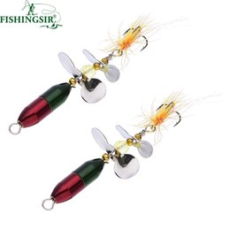 Wholesale catfish lures - 2PCS  Lot Long Casting Spinner Bait Metal Fishing Lure w  Double Tail Propeller Trout Carp Catfish Artificial Ice Fishing Lures