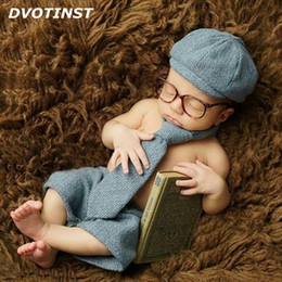 Wholesale baby photography clothing - Dvotinst Newborn Photography Props Baby Boy Shorts +Hat +Long Tie +Glasses Gentleman Set Costume Clothing Studio Shoot Photo Prop