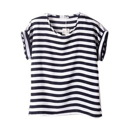 chiffon heart applique 2018 - Wholesale-Chiffon T-Shirts Ladies Loose Short Sleeve Shirts Striped Heart Lip Tops Batwing Sleeve Sexy