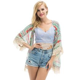Wholesale robes plage - Summer Swimwear Women Hollow Chiffon Tassel Patchwork Beachwear Bikini Swim Suit Cover Up Chiffon Shirt Blouse Robe De Plage