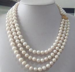 """Triple rangée de perles des mers du sud en Ligne-Collier de perles blanches 9-10mm véritables australiennes, mer du Sud, 17-19 """""""