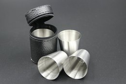 Wholesale Wholesale Coffee Accessories - 4pcs set 30ml stainless steel camping coffee cup outdoor portable small water cup Travel Barware Accessories wen5053