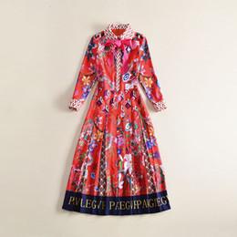 Wholesale Kimono Style Dress Sleeve - 2018 Brand Same Style Dress Flora Print Autumn A Line Lapel Neck Mid Calf Long Sleeve Polyester Women Clothes AS