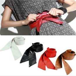 Wholesale leather circle belt - Women Belt Long Section Of the Circle Soft Leather Bowknot Body Shaping Bands Wide Belts All Match Dress fast free shipping
