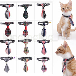 Wholesale necktie collar - 12 Style Pet Dog Cat Stripe Stars Tie With Bell Nylon Tie Collar Adjustable Bow Tie Necktie Collar Lovely AAA607 50pcs