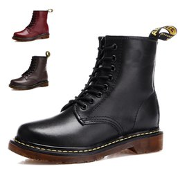 Wholesale Vintage Work Boots - DR Martenns Leather Martin Boots Women and Men Vintage Retro Warmer Hiking Sports Shoes Women Flat-Bottomed Casual Martin Boots