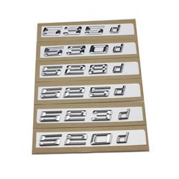 Wholesale Black Chrome Letters - New 1pcs 3D Chrome Silver and Black 520d 523d 525d 528d 530d 535d Rear Boot Trunk Lid Letters Badge Emblem Logo for BMW 5 series