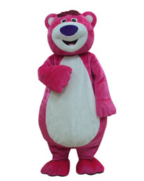 Wholesale Mascot Outfits - EMS Free Shipping Outfit Costumes Suit Pink Bear Cartoon Mascot Costume For Adults Show