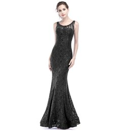 Argentina 2018 Black Lace Evening Dresses Scoop Beaded Sleeveless Mermaid Long Formal Evening Prom Gowns Plus Size Sheer Back Prom Gowns Suministro