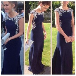 Wholesale Jersey Formal Gowns - 2018 Modest Mermaid Long Prom Dresses Jersey Beaded Crystals Sweep Train Dark Navy Teens Formal Prom Gowns Evening Party Dress Custom Made