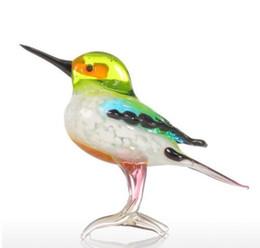 Animaux de verre modernes en Ligne-Nouveau Verre Animal Mini Statuettes Handblown Home Decor Multicolore Moderne Oiseau Minuscule Figurine Décoration de La Maison Accessoires