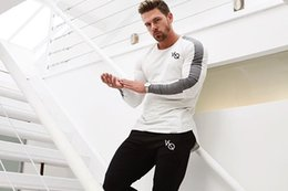 Wholesale Organic Fitness - New fitness muscle brothers sports long-sleeved workout clothes men's thin section breathable training round neck long-sleeved t-shirt