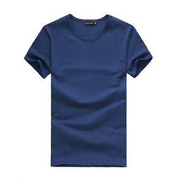 Wholesale Pattern Stickers - Male White Solid Crew Neck T-shirt Stickers Printing Tee DIY Patterns Pure Color T-shirts Short Sleeve Tops
