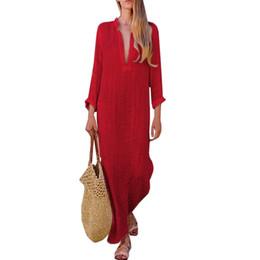 túnica de algodón Rebajas Pruebe todo, vestidos de lino de algodón, mujer, otoño, vestido 2018, para mujer, cuello en v profundo, vestido rojo, manga larga, túnica, robe, femme