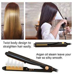 2020 выпрямитель для волос Профессиональный настой звуковой паровой выпрямитель для волос плоский утюг с тепловой активированный Аргановый раствор паровой волос Гладкая щетка HS003 дешево выпрямитель для волос