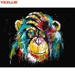 Wholesale Lion Drawings - Wholesale-Owl Cat Lion Gorilla Diy oil painting by numbers abstract acrylic paint Animal Canvas decor painting coloring by number drawing