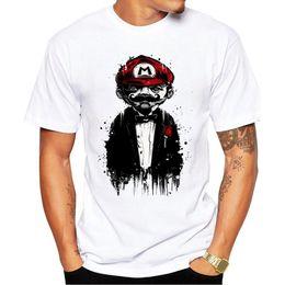 e543eff05 2018 New Arrivals Homens Camiseta Super Mario Pai Impresso t-shirt de Manga  Curta Ocasional Básica Tops Legal Melting Mario Camisetas