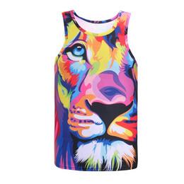 Cima del serbatoio del leone online-New Tops Impression Style Men 3d Vest Stampa Acquerello Lion Animals Summer Cool Slim Canotte Tees Asia Size