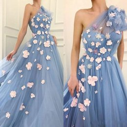 Wholesale One Shoulder Ball Gowns Prom - One Shoulder Ball Gown Prom Dresses with Flowers Floor Length Tulle 2018 New Arrival Fashion Gala Graduation Dresses for Girls Custom Made