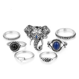 white resin elephants Coupons - Silver Golden Elephant Arrow Resin Gem Turkish Bulk Rings Set