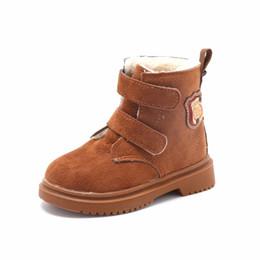 Scarpe invernali belle online-KINE PANDA Nice Warm Baby Boots Inverno Toddler Baby Boy Girl Stivali con peluche Scarpe per bambini Ragazzi Ragazze PU Leather economici 22-26