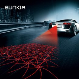 Anti-colisão on-line-SUNKIA Novo Padrão Anti Colisão Traseira-final Do Laser Do Carro Cauda de Nevoeiro Luz de Freio Auto Lâmpada de Luz de Advertência de Elevação Car Styling