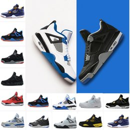 Wholesale pure pvc - 2018 men 4 Basketball shoes Military Motosports blue Alternate 89 Pure Money White Cement Royalty bred Fire Red Black Cat oreo sneakers