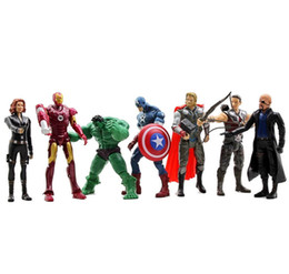 Wholesale Hulk 11 - 7PCS Avengers Action Figure Toys Hulk Captain America Iron Man Thor Joint Movable Xmas Gifts DDA133