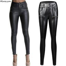 41bf546461b Womens Fashion Thin Slim PU Leather Pencil Pants For Female New Plus Size  Black High Waist Skinny Bodycon Trousers XXXL womens leather pants skinny  on sale