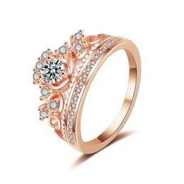 2019 dual-chip-handys 2018 Luxus Hochzeit Finger Schmuck Diamant Ring Frauen Krone Engagement Schmuck Umweltschutz Kupfer Ringe Kristall CZ Ringe