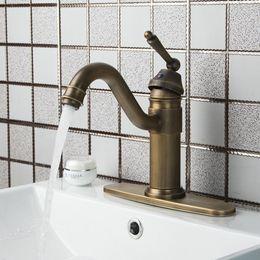 Couvercle de la plaque du robinet en Ligne-Poignée double en laiton antique pivotant + plaque de couverture + tuyau chaud / froid 86445726 Cuisine Robinet mitigeur de lavabo à évier Cozinha