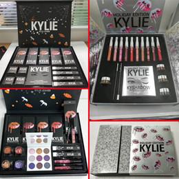 Wholesale Makeup Lipstick Palette - New in stock Kylie Fall Collection Bundle Kyshadow Purple Palette palette liquid lipstick Ultra glow losse powder Makeup set free shipping