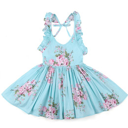 Wholesale Summer Dresses For Toddlers - Baby Girls Dress Brand Summer Beach Style Floral Print Party Backless Dresses For Girls Vintage Toddler Girl Clothing 1-9Yrs