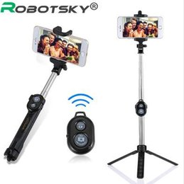 Controlador de stick android online-Self-Stick extensible Selfie Handheld Monopod + Bluetooth Remote Shutter Controller + Clip Holder para iPhone / Android Samsung HTC ect