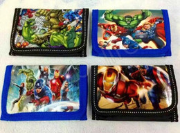 Wholesale purse child - 4styles Children wallet The Avengers super heros boys and girls Purse cartoon Iron Man Hulk kids wallets purses GGA563 100pcs