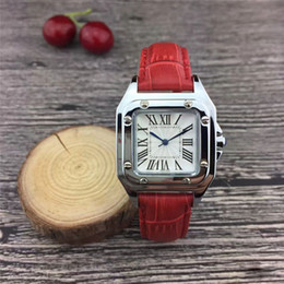 751a6bb81 New Popular Casual Square Dial Face Women watch Black Red Leather  Wristwatch Lady watches famous brand Dress watch
