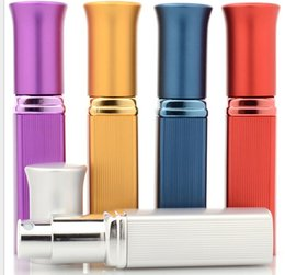 Wholesale Mini Refillable Perfume Atomizer Bottle - 5ml Mini Aluminum Glass Bottle Gift Perfume Bottles Refillable Mini Scent-bottle Perfume Spray Atomizer Empty Bottle Spray KKA3835
