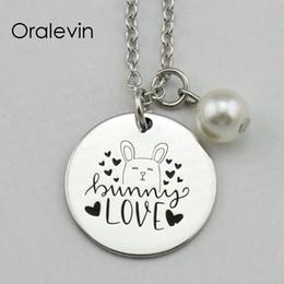 Amor conejito online-La más nueva moda BUNNY LOVE Inspirador estampado a mano personalizado colgante collar de cadena de regalo de metal estampado joyería, 10 unids / lote, # LN1951