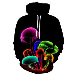 Wholesale Orange Mushrooms - 6XL New Spring Autumn Winter 3D Printed Creative Mushrooms Jellyfish Hoodies Women Men Sweatshirts Fashion Casual Top Plus Size