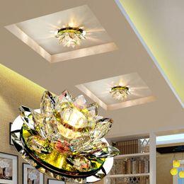 2019 apliques de pared rústicos LAIMAIK Crystal LED Ceiling Light 3W AC90-260V Modern Living Room Light Crystal Lamp LED Lamp Lighting Lotus Pumpkin Lights