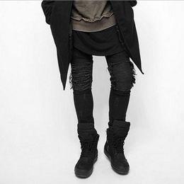 hip hop meio lavagem jeans Desconto Jeans Skinny Homens Rasgado Branco Preto Magro Estiramento Buraco Angustiado Mens Motociclista Jeans Lavagem Média Streetwear Hip Hop Atacado Calças Jogger