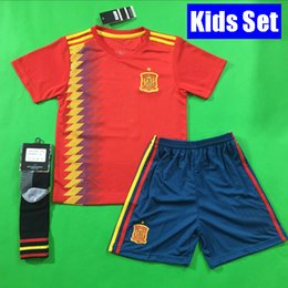 Wholesale Kids Football Uniforms Set - Thailand Spain 2018 Kids soccer jersey football Kits kids uniform set with socks camisetas de futbol MORATA ASENSIO ISCO SILVA RAMOS iniesta