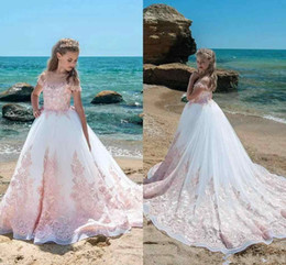 Wholesale Christmas Holiday Images - Ivory Pink Lace Girls Pageant Dresses Off Shoulder Cap Sleeves Appliques Flower Girl Dress Floor Length Ball Gown Holiday Gown For Teens