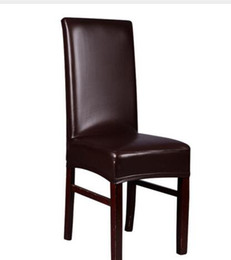 Wholesale Browns Plains Hotel - Brown Leather PU Chair Covers Elastic Deep Office Chair Covers For Weddings Banquet Home Hotel Dining Chair Seat CoversAEI-054