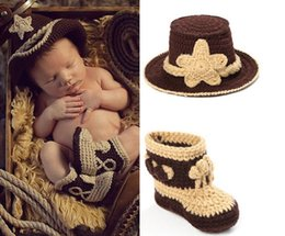 Wholesale football photo prop - Crochet Baby Cowboy Hat and Boots Set in Brown Newborn Boy Photo Props Handmade Knitted Baby Hat and Bootie