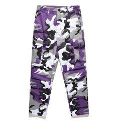 Rosa calças homens on-line-Camuflagem Men 's Carga Calças Rosa Comprimento Total Multy Camo Hip Hop Calças Das Mulheres Dos Homens Streetwear Toursers Homens S -2xl