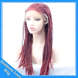Wholesale Burgundy Long Half Wig - Heat Resistant Burgundy Red Micro Braided Hair Wig Half Hand Tied Synthetic Lace Front Natural Long Reddish Micro Braid Wig