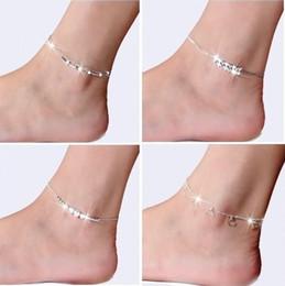 silberne schmucksachen für beinfrauen Rabatt 925 Sterling Silber Knöchel Armband für Frauen Fußschmuck Intarsien Zirkon Fußkettchen Armband auf einem Bein Persönlichkeit Geschenke