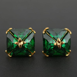 Wholesale Thanksgiving Stud Earrings - 2018 Top Brand name earring with diamond stud drop green color Earring in 1.3cm 18k gold plated style women top quality jewelry gift free s